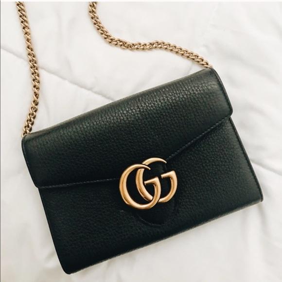 c740a1e7b10 Gucci Handbags - Gucci GG Marmont Leather Wallet Chain Bag